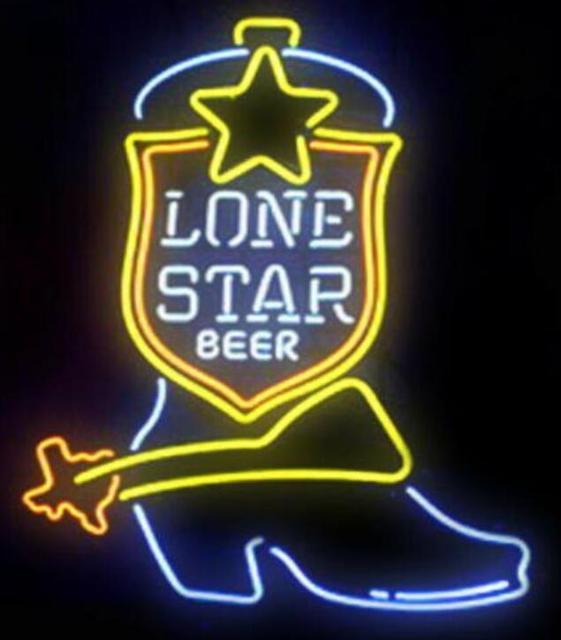 Custom Lone Star Boot Glass Neon Light Sign Beer Bar