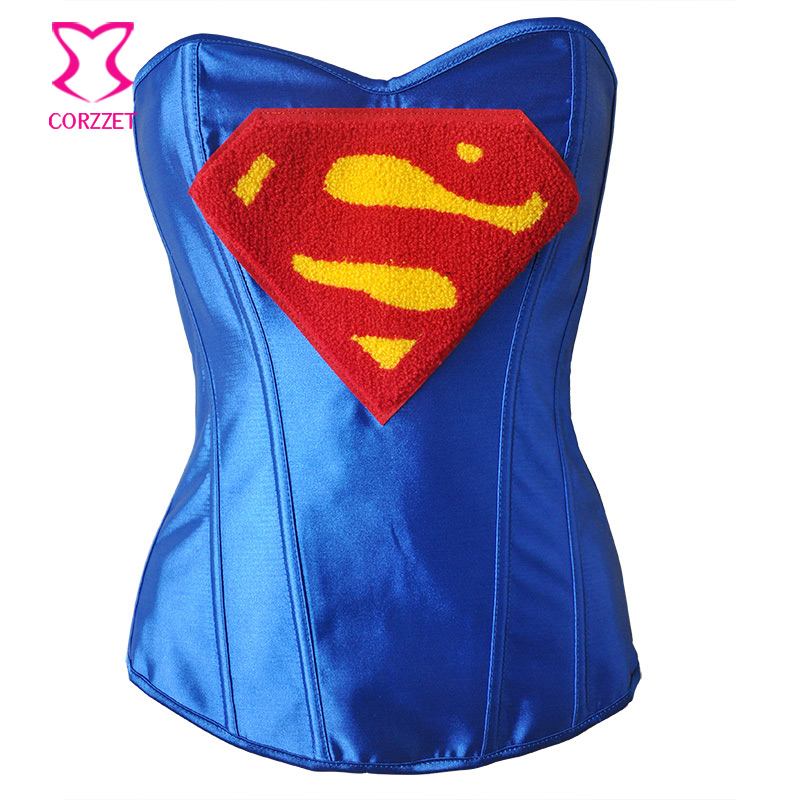 Blue Satin Overbust   Corsets   And   Bustiers   Sexy Supergirl   Corset   Costume Korsett For Women Corpetes E Corselet Burlesque Costumes
