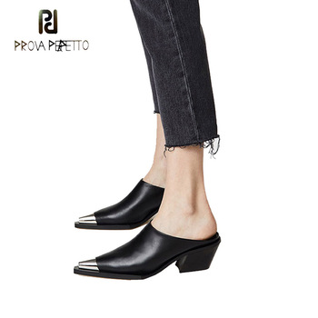 Prova Perfetto 2018 new metal decor pointed toe chunky heel women slipper black white genuine leather cover head mules shoes