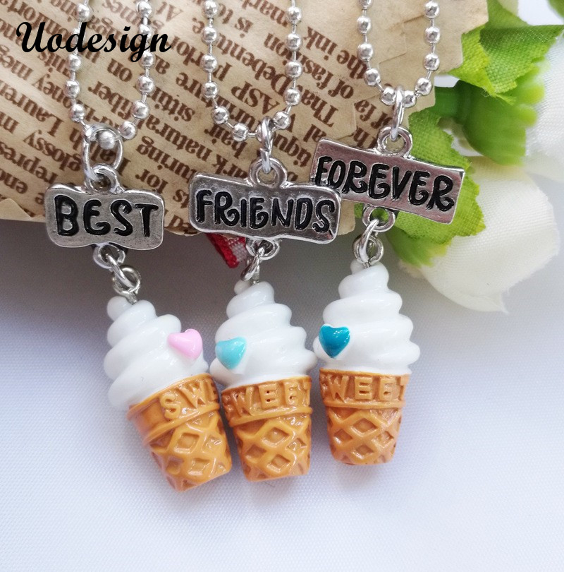 Best <font><b>Friends</b></font> <font><b>BFF</b></font> resin ice-cream pendant bead chain <font><b>necklace</b></font>,<font><b>3</b></font> colors lead nickel cadmium free kids jewelry Wholesale image