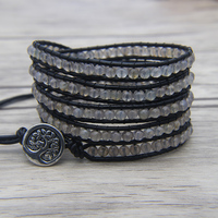 Facted grey bead Jewelry Leather 5 Wrap Beaded Bracelet Grey beads Jewelry Boho Bead Bracelet Black Leather Bracelet Men Jewelry
