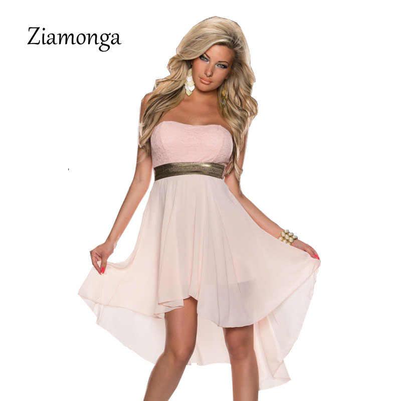 03b1bc01c3ce8 Ziamonga Strapless Lace Top Chiffon Dress Women Casual Strapless Club Party  Dresses Plus Size S-XXL Cocktail Bodycon Dresses