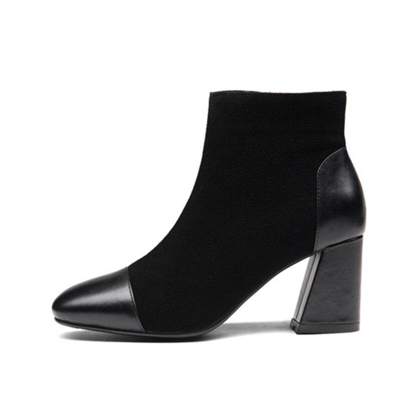 Vente Hauts Cuir Zipper En 2018 Chaude Élégant Noir Talons Smirnova Cheville Femme Suédé Chaussures Bottes Pointu Dames Bout Automne BoQdWECrxe