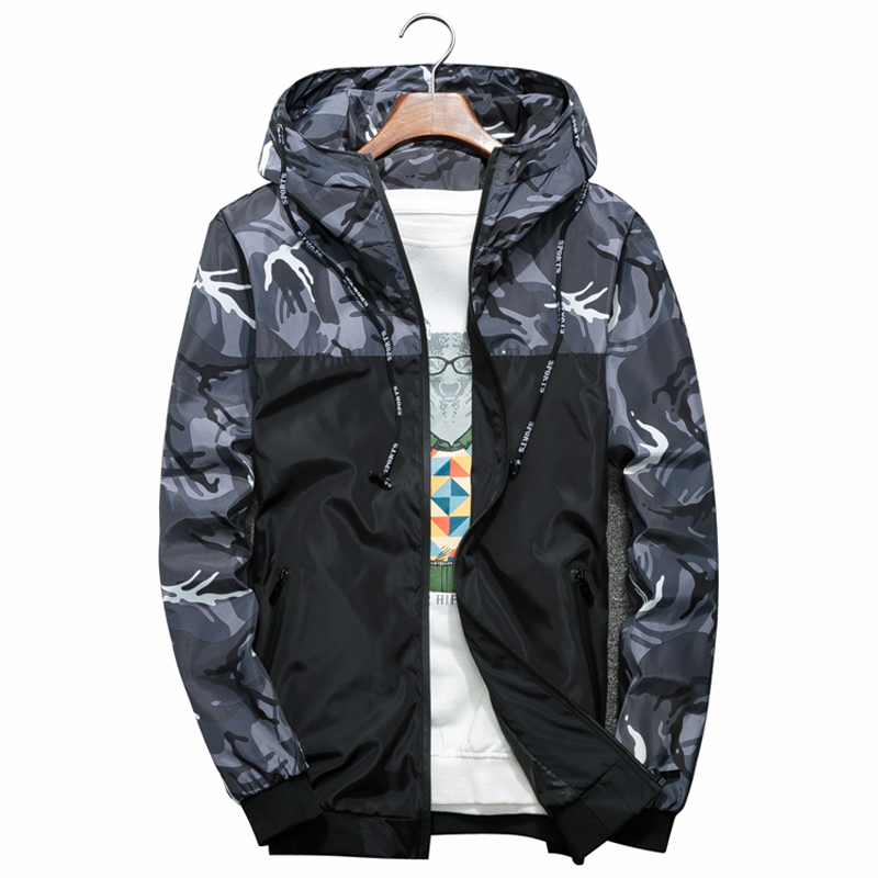 Men Bomber Jacket Thin Slim Long Sleeve Camouflage Military Jackets Hooded 2018 Windbreaker Zipper Outwear Army Brand Clothing(China)