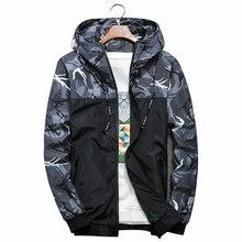 Для мужчин курточка бомбер Тонкий с длинным рукавом Камуфляж Военная  Униформа Куртки капюшоном 2018 ветровка верхняя 9a1069fc2cead