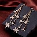 Euro América Retro Bronze Brilho Strass Estrelas Longas Franjas Brincos Pendurados Para As Mulheres E996