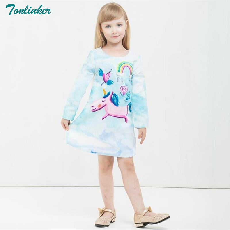 New Rainbow unicorn girl dresses in Kids For autumn 2018 Girls Christmas party Dress Princess Print Long Sleeve Rapunzel Costume in Girls Costumes from Novelty Special Use