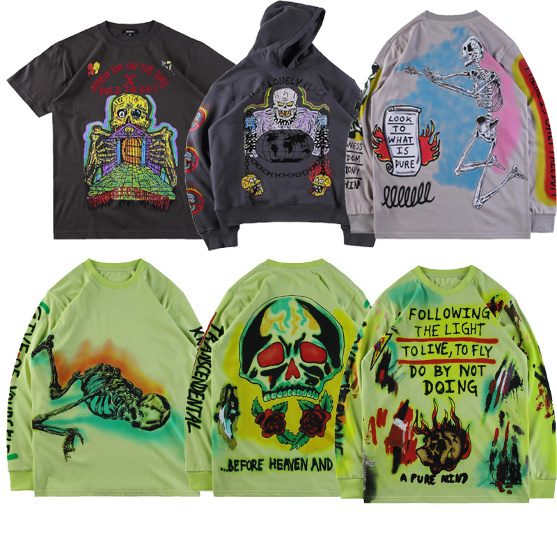 19ss Season 6 Hoodies Men Women1:1top Version Skull Graffiti Streetwear XXXTentacion Kanye West Hoodie Season 6 Swearshirt