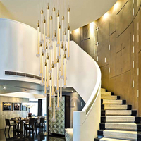 Luxury modern led large staircase crystal chandelier long water drop lighting fixtures kitchen island restaurant hanging lamp