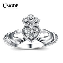 UMODE Luxury White Gold Plated Hand&Heart&Crown Claddagh Rings For Women Friendship CZ Diamond Wedding Band Jewelry AUR0127
