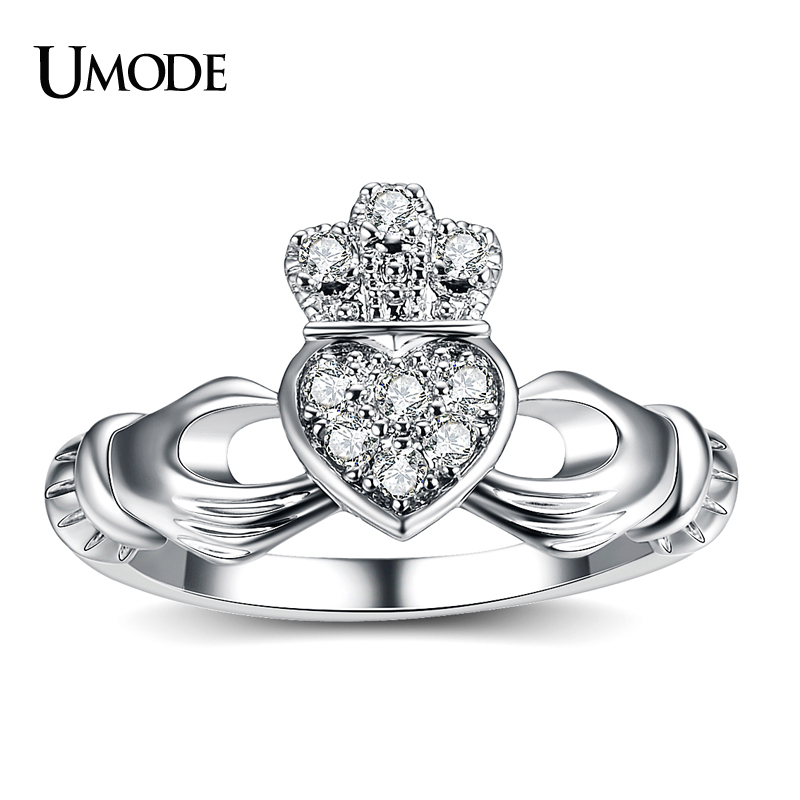 UMODE New Luxury White Gold Color Hand Heart Crown Ring For Women Friendship CZ Wedding Band Jewelry Fashion Bague Femme AUR0127