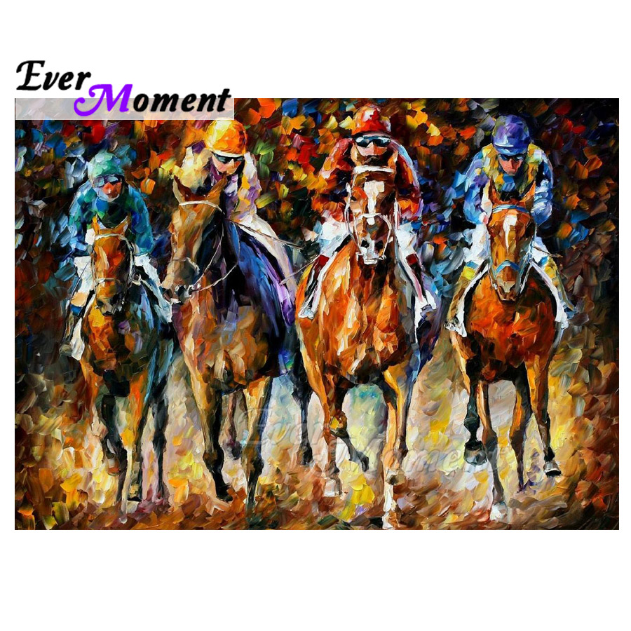 Ever Moment Diamond Painting Horse Race 5D DIY Full Square Drill Mosaic Diamond Embroidery Cross Stitch Wall Decoration 3F1604