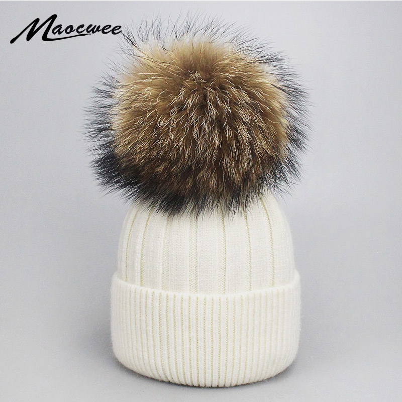 Girl Women Winter Wool Beanie Cap Real Raccoon Fur Pom Pom Parent-child Knitted Hat Core Yarn Warm Casual Skullies Beanies Bones