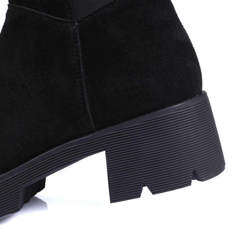 TXCNMB 2019 100% Inek Süet Deri Çizmeler Kadın Diz Yüksek Çizmeler Yuvarlak Ayak Kalın Topuklu Zarif Bayan iş ayakkabısı Kadın Siyah