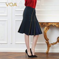 VOA Heavy Silk Plus Size 5XL Mermaid Skirts Women Solid Navy Blue Sexy Office Slim Basic Formal Midi Skirt Female Summer C106