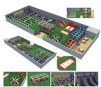 Новое поступление развлечений площадка безопасности дешевые Крытый Батутный парк с воинов ниндзя препятствий YLW BT180319