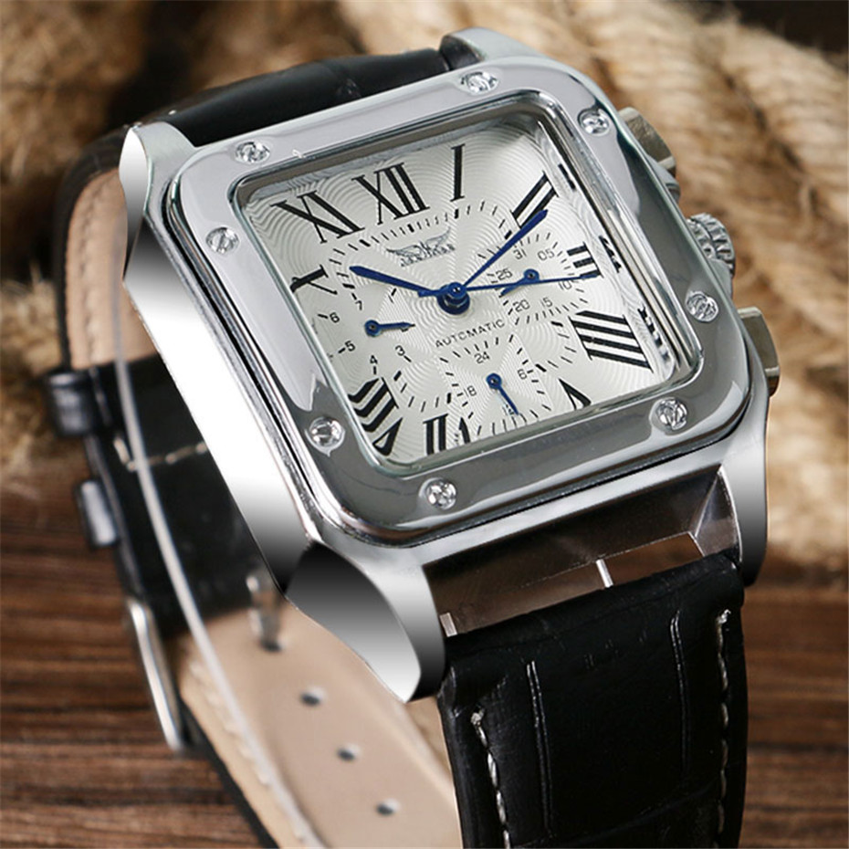 JARAGAR Mechanical Watches Men Fashion Genuine Leather Wrist Watch Automatic Date Day Display Watches Mens Clock with Gift Box (2)