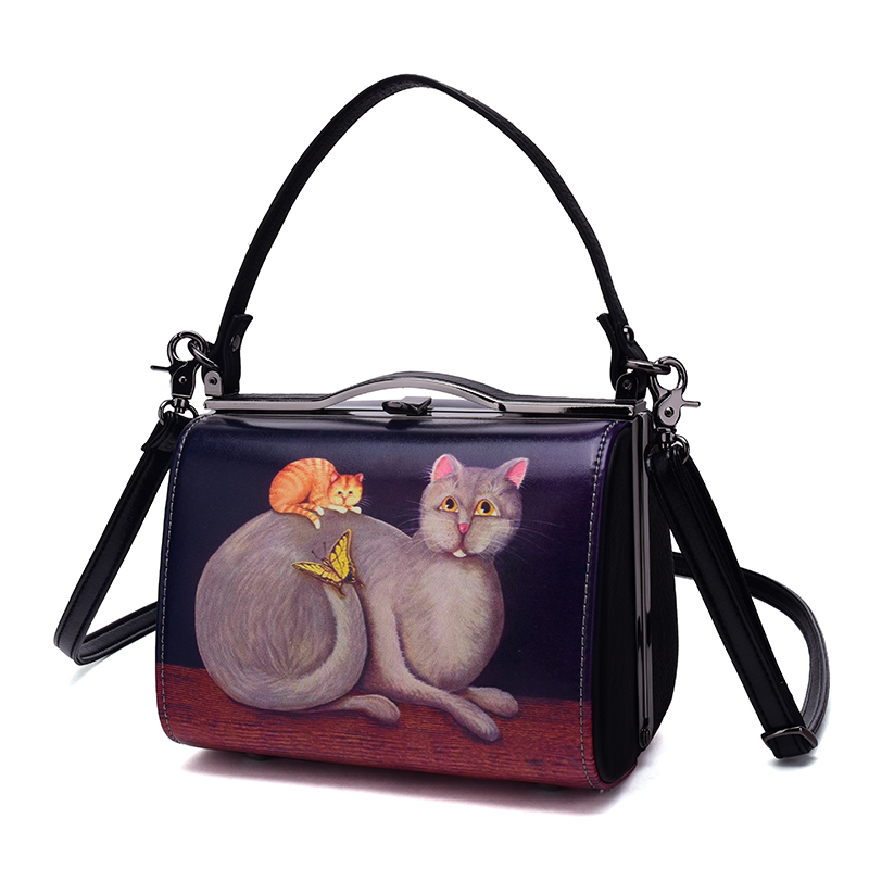 ФОТО Genuine Leather Shoulder Inclined Shoulder Bag Leather Handbag Mobile Phone Box Printing Hand-drawn Cartoons Messenger Bag