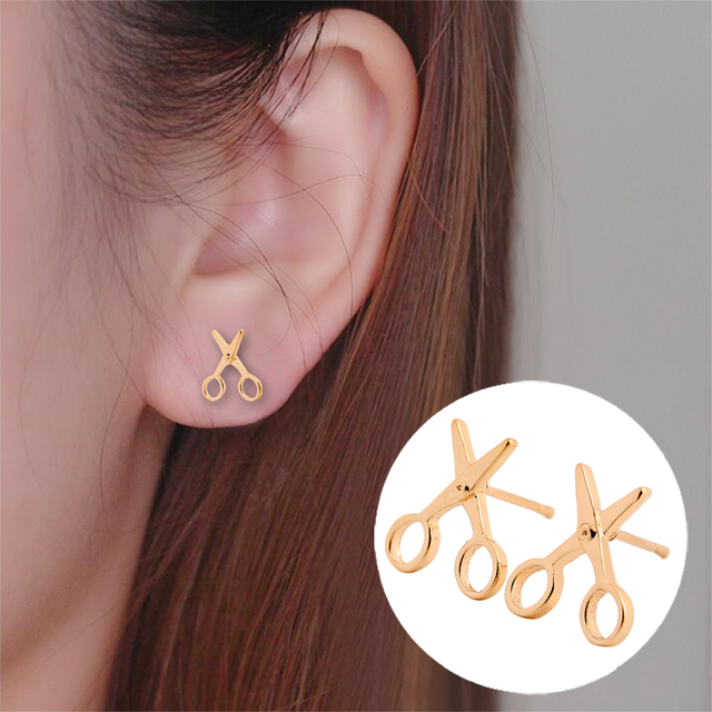 852ad3830 Shuangshuo 2017 New Arrival Small Earrings Simple Scissor Stud earrings for  Women Fancy Jewelry