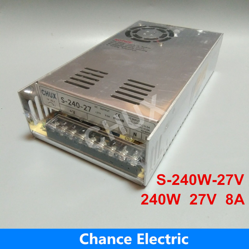 27 volt 110V 220V AC to 27V DC 8A single output 27v Switching Power Supply for LED Strip free shipping 240W free shipping 200pcs bt137 bt137 600 bt137 600e triac 600v 8a to 220
