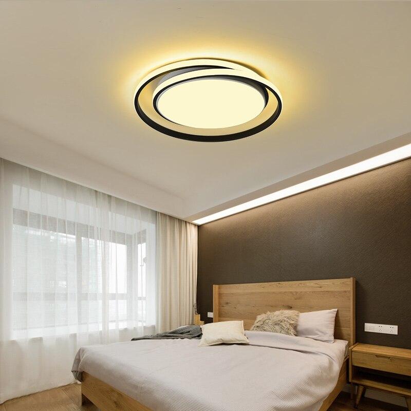 現代の天井照明 LED ランプリビングルーム白黒色表面実装天井ランプデコ AC85 265V  グループ上の ライト & 照明 からの シーリングライト の中 1