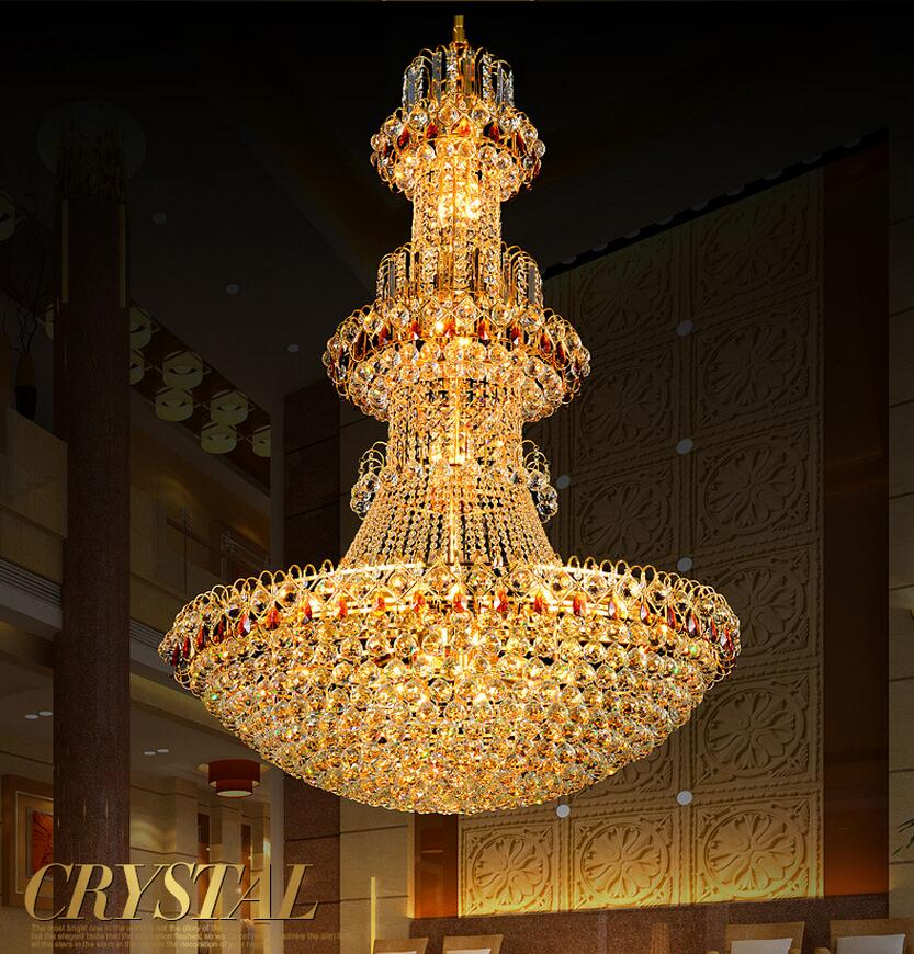 Large Modern Led Chandelier Luxury K9 Gold Crystal Chandelier Lighting Lustres De Cristal Upscale Lustre Crystal