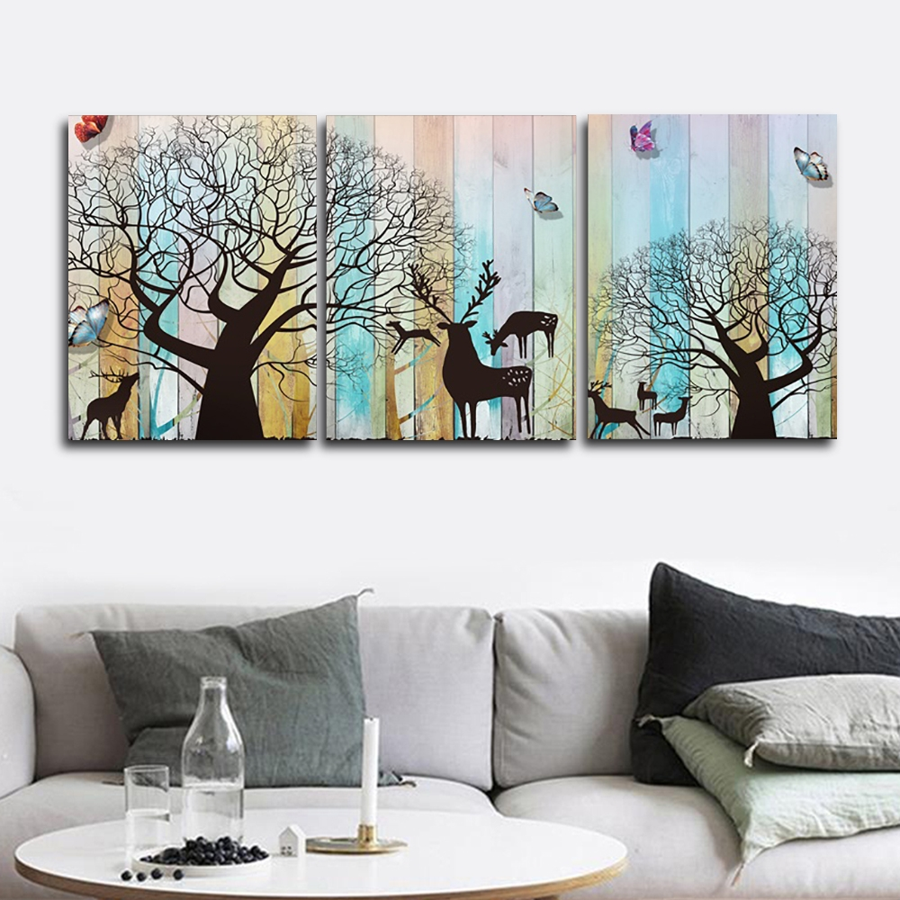 Laeacco 3 Panel Wooden Cartoon Deer Canvas Calligraphy Painting Animal Posters Prints Wall Art Nordic Home Living Room Decor
