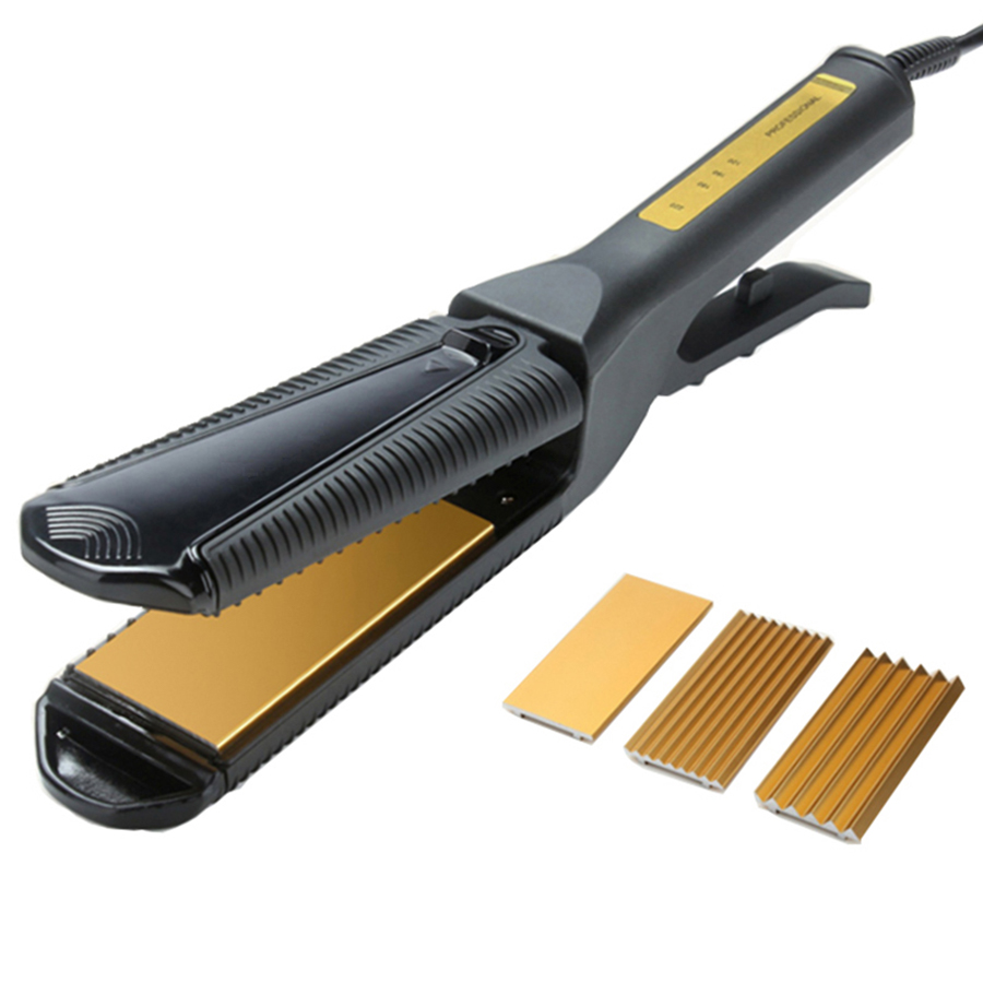 Profession Electric 3 in 1 Hair straight Iron Plate Curler Flat Waver Curly Curling Crimper Corn Fluffy Pull Straight Splint