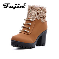 2016 Fall Fashion Women Boots PU Leather Round Toe Ankle Boots Sexy Lace Ladies 7cm High