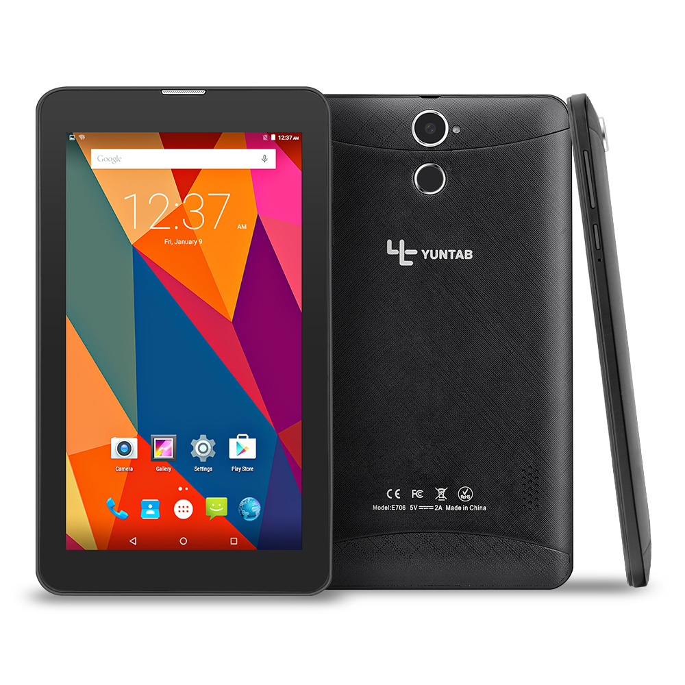 Yuntab 2colors 7 inch E706 Android 5.1 Tablet Quad Core Capacitive screen 1024*600 with Dual Camera support SIM card yuntab 7 inch e706 tablet pc dual camera quad core wifi bluetooth android 5 1 ips screen 1024 600 with2800mah battery 7 8 10