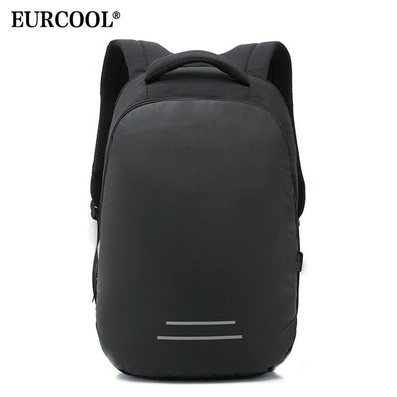 EURCOOL 15.6 pouces sac à dos pour ordinateur portable hommes USB Charge polyvalent hydrofuge voyage sacs à dos pour adolescents sac d'école noir n2830