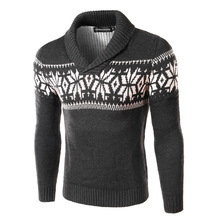 New Brand Sweater Men Men's Pullover Stand Collar Winter Thicken Warm Christmas Snowflake Knitted Coat Casual Sweaters
