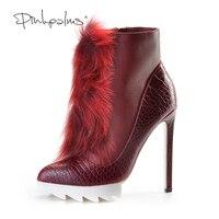 Розовые ладони женские ботильоны Botas Высокий каблук Лето/Осень/Весна обувь меха лисы женская обувь красного цвета ботинки на платформе