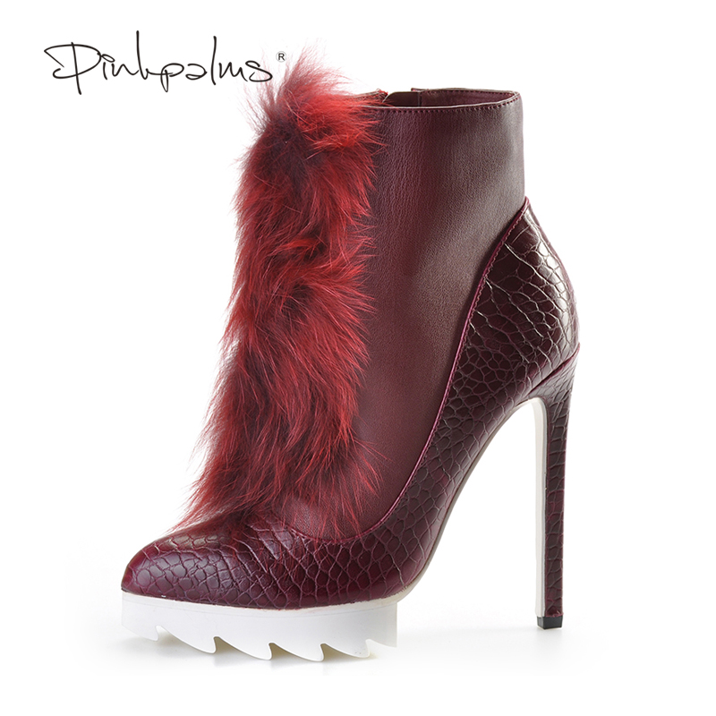 48ca76268b7 Brand Pink Palms high heels ankle boots for women winter snow boots with fox  fur thick platform plush women boots