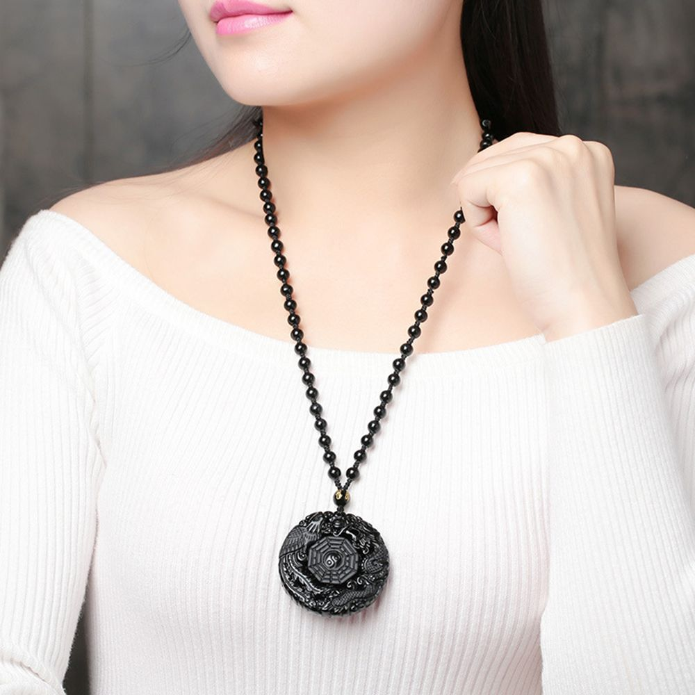 Beads Necklace Chinese Natural Obsidian Carved TaiJi BaGua Lucky Amulet Pendant