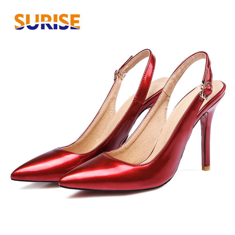 Big Size 10cm High Thin Heel Summer Women Pumps Pointed Toe Patent Leather Party Casual Buckle Strap Red Lady Stiletto Slingback lady big size 4 15 elegant summer glitter buckle strap soft pointed toe thin high heeled sandals shoes women pumps 5colors girls
