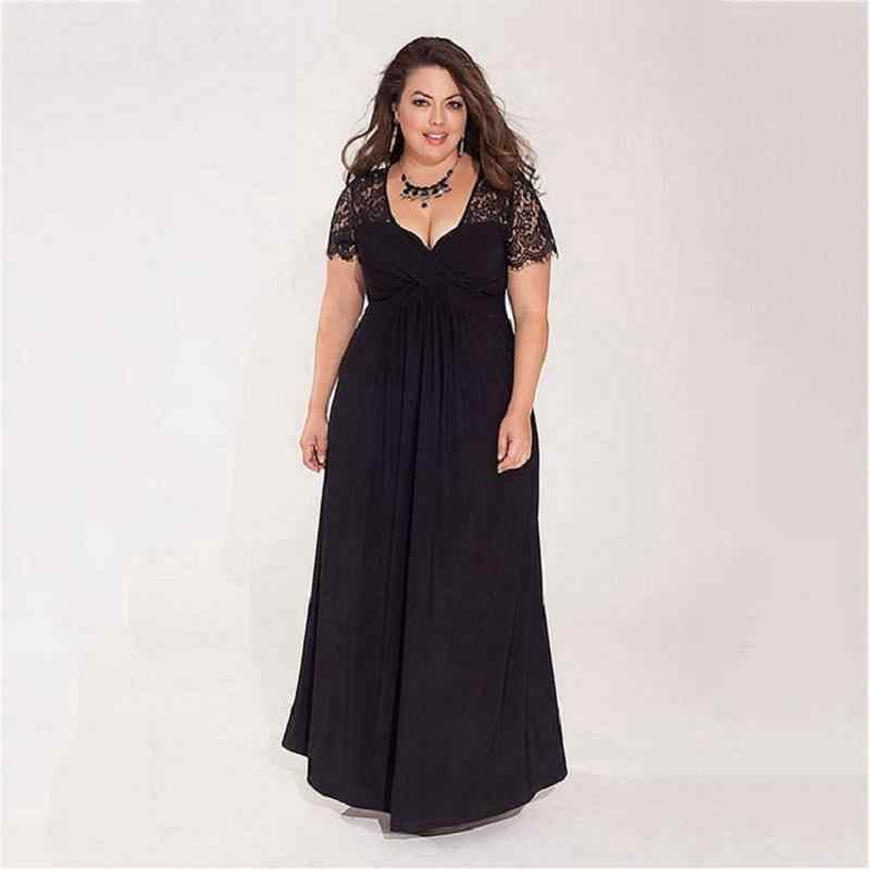 Robe De Soiree 2020 Nero Plus Size Abiti da Sera Elegante Una Linea di Collo a V Manica Corta in Pizzo Convenzionale Lungo da Sposa abiti Del Partito