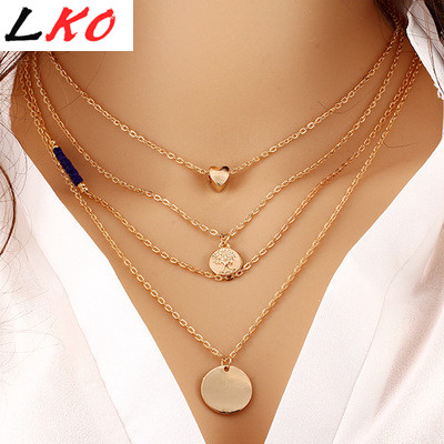 LKO HOT LOVE Coin Pendant Necklace charm gold chain necklace multi