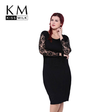 kissmilk 2016 Women Fashion Plus Size Lace Tassel Sheer Party Club  Patchwork Long Sleeve Slim Dress