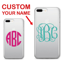 Monogram Initials Personalized Custom Name Text Soft Clear Phone Case For iPhone 6 6S XS Max XR 7 7Plus 8 8Plus 5 X SAMSUNG