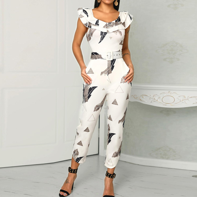 Sashes Ruffles Shoulder Jumpsuits Leaf Print Layered Ruffle Split Leg Jumpsuit With Belt Summer Sexy Rompers