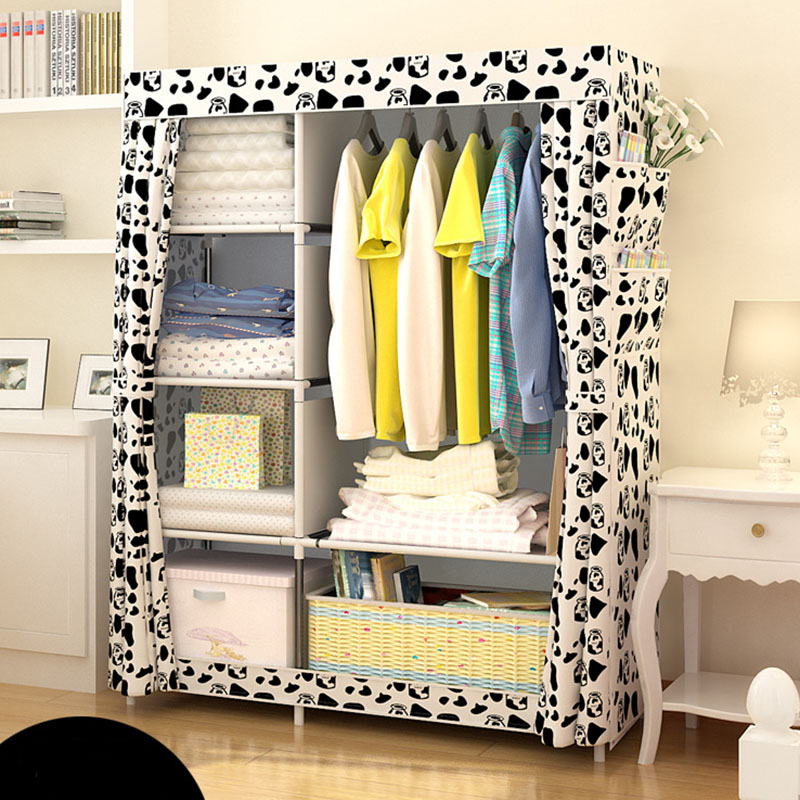 DIY Wardrobe Non woven Cloth Wardrobe Closet Folding Portable Clothing Storage Cabinet Bedroom Furniture|Wardrobes| |  - title=