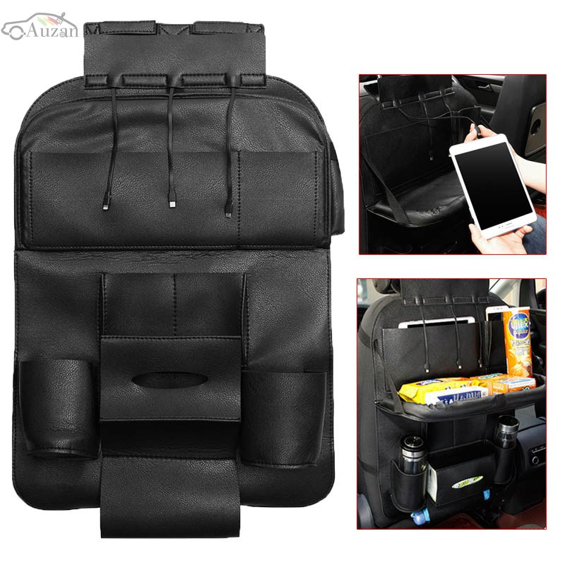 Leather Black Auto Car Seat Back Bag Multi Pocket Organizer Folding Storage Bag Holder With 3