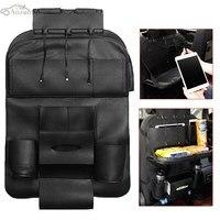 Leather Black Auto Car Seat Back Bag Multi Pocket Organizer Folding Storage Bag Holder With 3