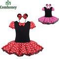 Vestido de las muchachas Del Verano Minnie Mouse Fiesta de Disfraces de Fantasía Cosplay Girls Ballet Tutu Dress + Ear Diadema Niñas Polka Dot Dress niños