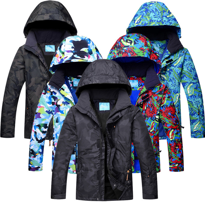 2017 New Ski Jacket Men Winter Camo Pattern Snowboard Snow Jacket Outdoor Waterproof Breathable Ski Jackets Male Skiing Clothing