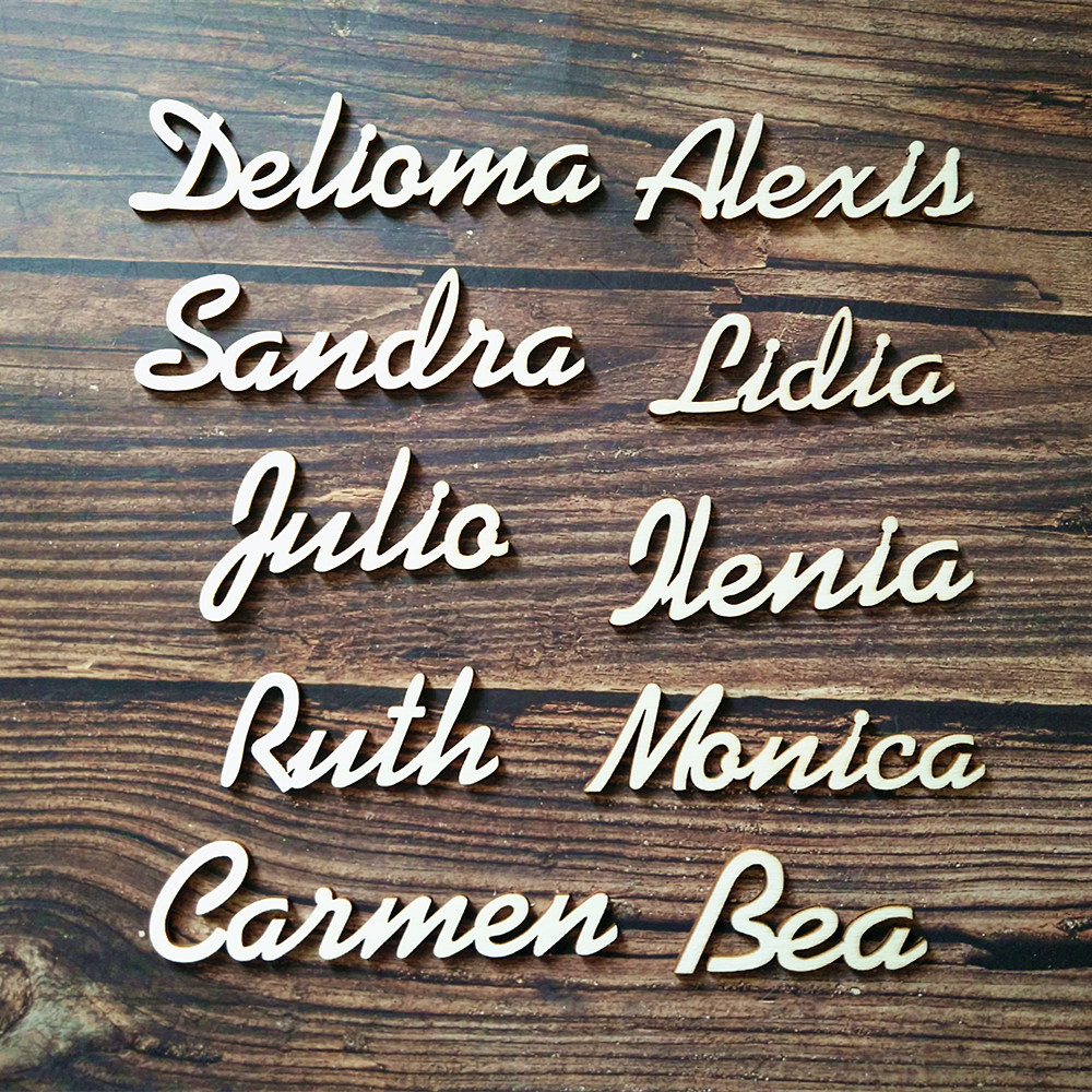 10pcs Personalized Customized Wood Wooden Guest Place Names for Wedding Place Card Bonbonniere Table Setting Plan image