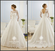 Beautiful New Model High Neck Lace Appliques Long Sleeve Wedding Dress 2015