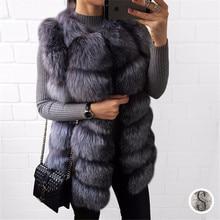 BF FUR Real Fox Fur Vest Luxury Brand Women Outwear Coat Natural Silver Fur Vest Waistcoat Genuine Full Fox Fur Gilet BF-V0061