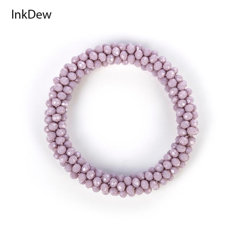 INKDEW 2018 Trendy Bead Bracelet Elastic Handmade Strand Bracelets for Women Gift Red Multicolor WHOLESALE Bracelets & Bangles
